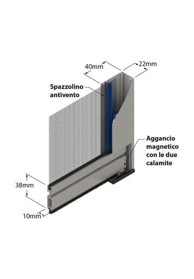 Zanzariera avvolgente Verticale con Spazzolino, a Catena e Aggancio Magnetico, da 42 mm